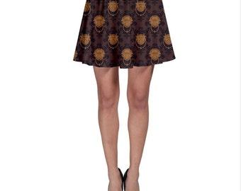 Labyrinth Skirt - Brown Door Knocker Damask Skirt Door Knocker Skirt Skater Skirt Comicon Skirt Geeky Skirt Plus Size Skirt