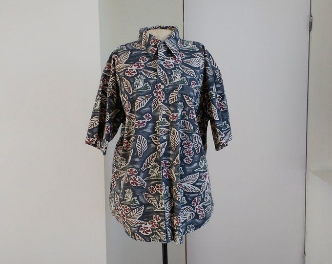 Vintage Hawaii shirt, casual mens shirt Penmans, size L, short sleeved summer shirt, oversized ladies tiki shirt, rockabilly spring fashion