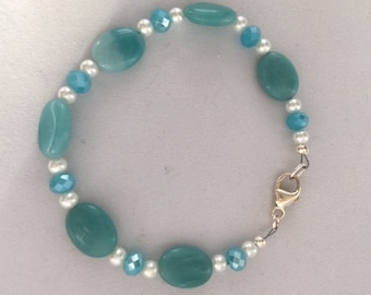 Amazonite, pearl and czech glass bead bracelet.