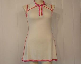 Vintage dress, 1970s dress, tennis dress, mini dress, White Stag dress, vintage clothing, Small