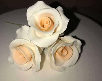 Gumpaste peach roses