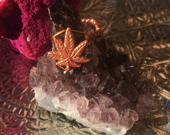 Copper Queen Crystal Quartz Cannabis - Weed Leaf Wire Wrapped Stone Festival Ring - Approximately Size 7