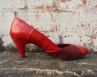 80's Eel Skin Heels, Eel Leather, Alligator Leather, Vintage High Heels, Vintage Pumps