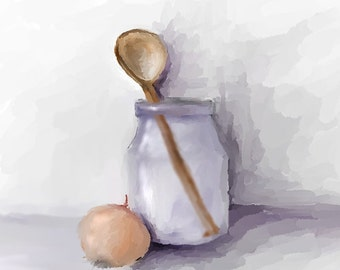 Digital drawing: wooden spoon, jar and onion