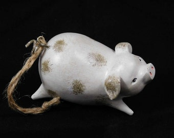 Spotted Pig Ornament, Jumping or Falling