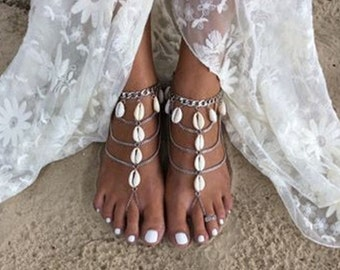 A Pair of Silver & Shell Barefoot Sandals  BJ6021n
