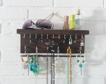 Jewelry organizer. Jewelry Display. Wall Hanging Jewelry Display. Jewelry storage. Jewelry holder. Holder Necklace Earring Bracelet.