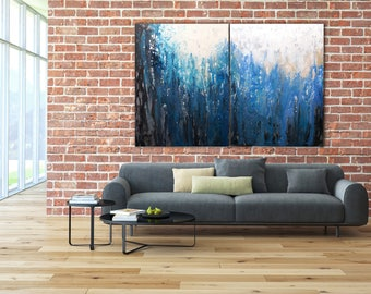 ORIGINAL ABSTRACT PAINTING 60x40 XLarge Canvas Art Blue Absrtact Painting Minimalist Art Wall Art Canvas Art Modern Art Acrylic Painting