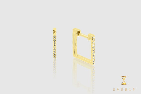 14k Solid Gold Womens Square Hoop Diamond Sparkling Uverly Earrings