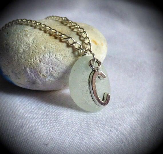 Initial C, Charm Necklace, Seaglass Pendant, C Charm, C Jewelry, C Jewellery, C Necklace, C Pendant, Sea Glass Pendant, Alphabet - PC17015
