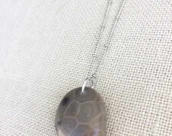 Petoskey Stone Necklace, Petosky jewelry, Petoskey stone jewelry, Petosky stone, Lake Michigan, natural rock jewelry, Michigan rock jewelry