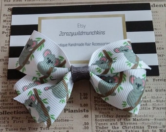 Koala Hair Bow, girls hair bow, party favors, stocking stuffers