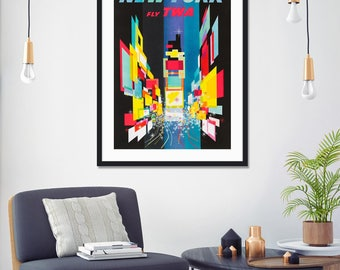 New York TWA by David Klein Vintage Travel Poster