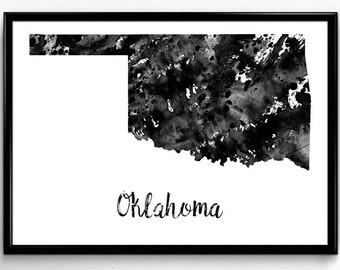 Map of Oklahoma, United States of America, Black and White Map, Travel, Watercolor, Room Decor, Poster, gift, Print, Wall Art (769)