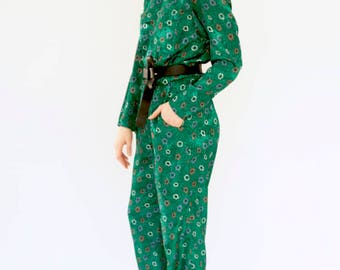 70s vintage jumpsuit with multi-coloured abstract floral print size 12