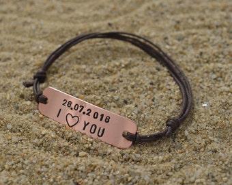 Mens Bracelet-Copper Bracelet-Personalized Bracelet-Nameplate Bracelet-Boyfriend Gift-Mens Pesonalized