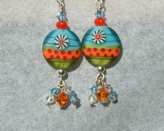 Lentil lampwork bead earrings in bright orange , green and turquoise