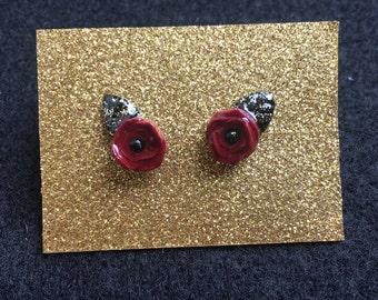 Tiny Gold Glitter Rose Earrings, Polymer Clay, Rose, Petite, Floral Earrings, Stud Earrings