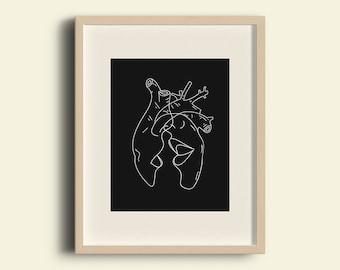 PRINT, 1kiss 1heartbeat, ilustration, lovers, heart, anatomy, minimalist, decoration, home