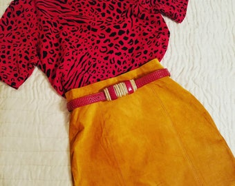 Vintage Yellow Suede Skirt, Mustard Suede Skirt, Yellow Leather Skirt, Vintage Yellow Skirt, Vintage Midi Skirt, Long Yellow Skirt