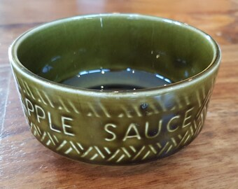 Vintage Crown Devon 'APPLE SAUCE' pot. Dark olive green glaze with a basket weave effect, Made in England, 1960's pottery