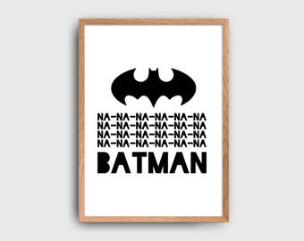 Batman Superhero Children's Wall Art Printable: INSTANT DOWNLOAD