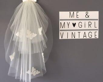 Butterfly Veil, Wedding Veil, Short Wedding Veil, Veil With Butterflies, Bouffant Veil, Veil With Butterflies, Layered Wedding Veil,