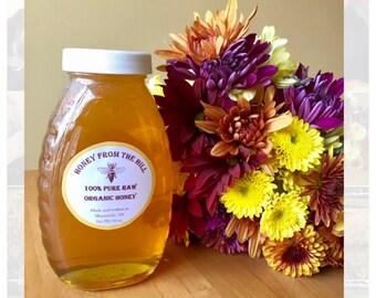 16 oz. Jar of Wildflower Honey- Pure Raw Honey, Natural Honey, Liquid Honey, Jar of Honey, Raw Honey, Clover Honey, Organic Honey