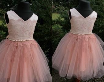 MIA  Apricot  Lace Tulle Flower Girl Dress Vintage Dress Wedding Bridesmaid Dress