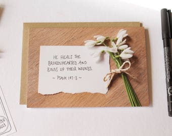 He Heals The Brokenhearted Christian Card // Comfort Sympathy Encouragement Scripture Card