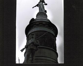 Monument, Utica, Central New York, CNY, photograph, greyscale, sculpture, statue, civil war, revolutionary war, print