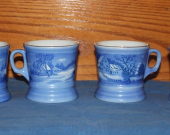 4 Vintage 1980s Currier and Ives Blue Winter Scene Mugs or Cups with Gold Rims