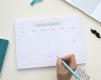 Weekly planner pad, weekly schedule maker. Weekly organizer pad, 7 day planner, weekly agenda planner, weekly goal planner, one week. Simple