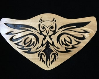 Owl - Large - Hand-cut Wood Decoration Tribal Striking Intricate Scroll Saw Art