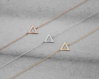 Triangle Bracelet, Dainty Gold Bracelet, 14k Gold Bracelet, White Gold, Gold Triangle, Minimalist Bracelet, Triangle Jewelry, Gift For Her