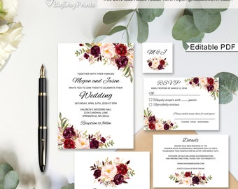 Floral Wedding Invitation Template, Boho Chic Wedding Invitation Suite, Wedding Set, #A023A, Editable PDF - you personalize at home.