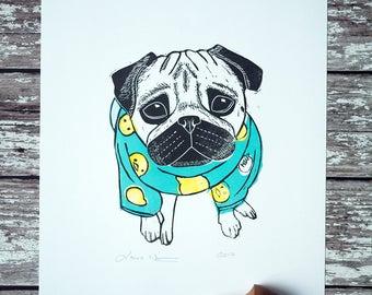 Pug Print Cute Pug in Pyjamas A4 Lino Print Art Hand Printed Original Pug Gift /// PJ's All Day