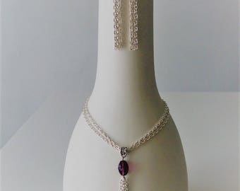 Parure necklace + earrings with pearls bordeaux Crystal