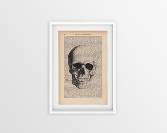 Skull printed on an old page, vintage print of skull a page from 1877, Gothic font on yellow page, anatomy print, printed skull