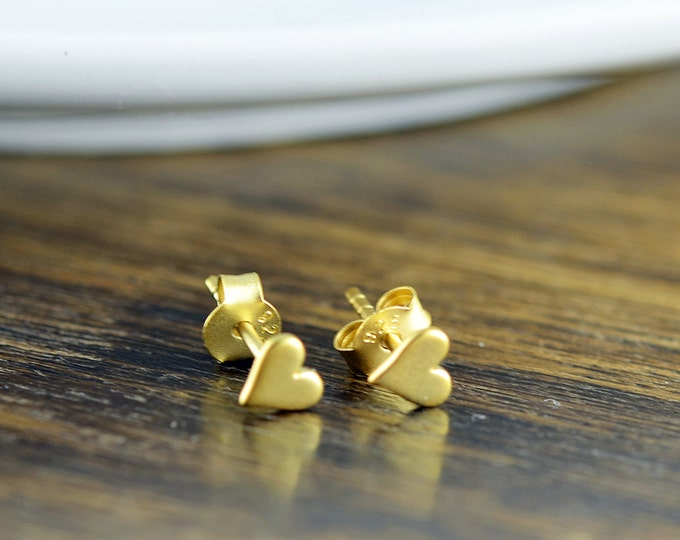 gold heart earrings - stud earrings - heart earrings  - tiny stud earrings - gold tiny heart post earrings