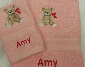 Personalised Towel Set Christmas Gift Present Hand Towel and Face Cloth ANY NAME Embroidered Flannel Baby Girl Birth - Teddy With Pink Bow