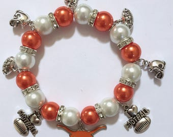 Texas Longhorns 8in charm bracelet