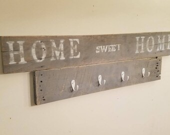 Rustic Hand Made Coat Rack with Writing