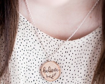 Wood Slice Chain Necklace | Wood burned | Hand Lettered | Great W/Essential Oils | MADE TO ORDER
