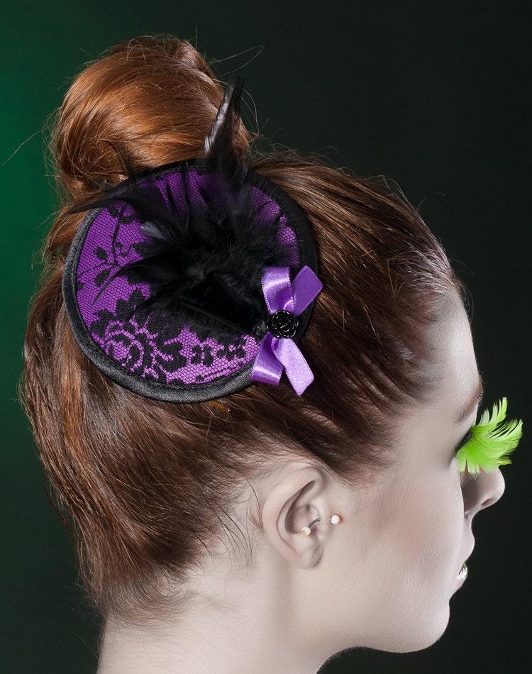 Black purple fascinator f...