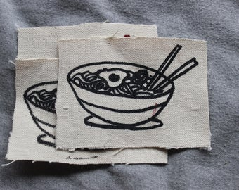 Ramen lover screenprinted patch, hand printed and drawn, silkscreen patch, asian noodle, ramen, food patch, red and black