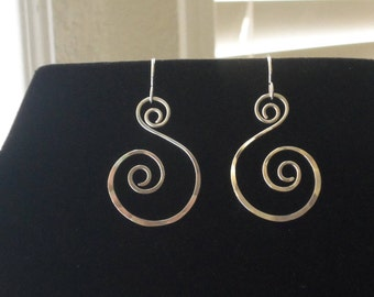 Hand Forged Solid Sterling Silver Double Spiral Earrings Artisan Made In USA