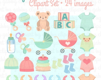 Neutral Baby Shower Clipart, Clip Art