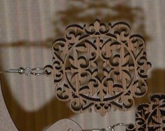 Kazakh ornament Earrings, Wood Dangle Hook Earrings, Natural earrings, Gift for Women, Nature jewelry, Wooden Earrings #2
