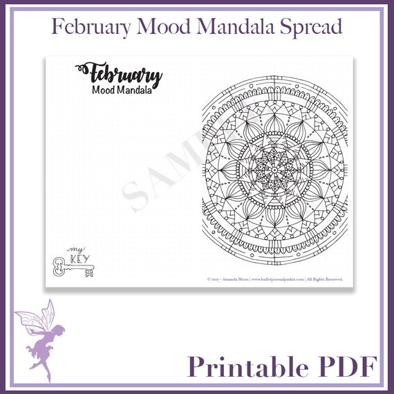 Bullet Journal February 2017 Mood Mandala Printable Pdf